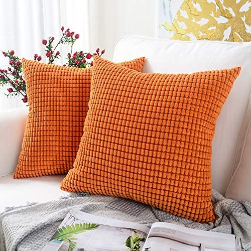 Best MERNETTE Pack of 2, Corduroy Soft Decorative Square Throw Pillow Cover Cushion Covers Pillowcase, Ho