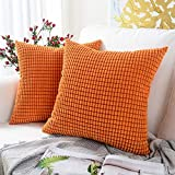MERNETTE Pack of 2, Corduroy Soft Decorative Square Throw Pillow Cover Cushion Covers Pillowcase, Home Decor Decorations for Sofa Couch Bed Chair 18x18 Inch/45x45 cm (Granules Orange)
