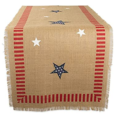 DII 14x74  Jute/Burlap Table Runner, 4th of July - Perfect for Independence Day, July 4th Party, Summer BBQ and Outdoor Picnics