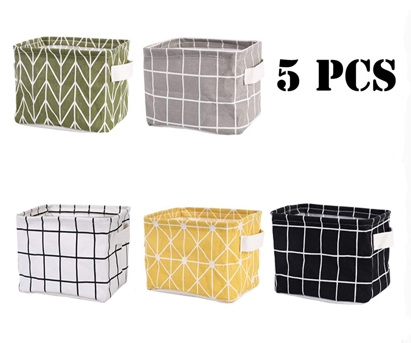 Tamicy Mini Storage Basket(Pack of 5)- Blend Storage Bins for Makeup, Book, Baby Toy,8x6x5.5 inch Home Decor Canvas Organizers Bag 8x6.3x5.1 inch