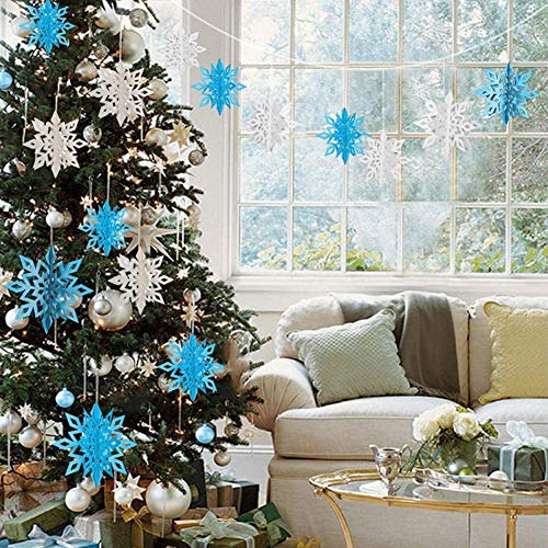 Christmas Hanging Snowflake Decorations 18 Pcs 3D Snowflake Ornaments Large Snowflake Winter Glittery Garland for Window Xmas Trees Decor New Year Party Holiday Home Decoration (White, Silver, Blue)