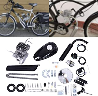 Fiudx Bicycle Motor, 80cc Bicycle Engine Kit 2 Stroke Petrol Gas Motorized Engine Kit Set Silver Bike Motor Kit Bicycle Engine Kit