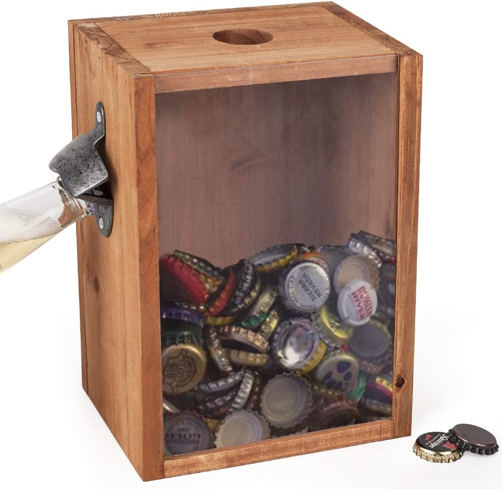 BARGIFTS Bottle Opener And Cap Saver Classic Rustic Wood Standing With Beer And Soda Cap Collector,Beer Cap Holder,Collection box with beer opener display box