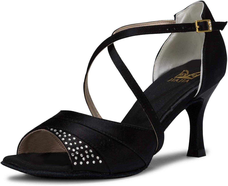 JIA JIA 20522 Women's Satin Sandals Flared Heel Latin Salsa Performance Dance shoes