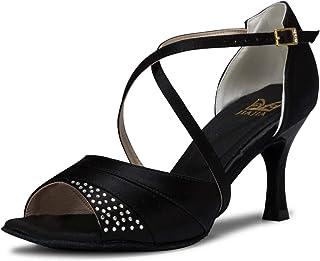5af677330081 JIA JIA 20522 Latin Women s Sandals 2.7   Flared Heel Super Satin with  Rhinestone Dance