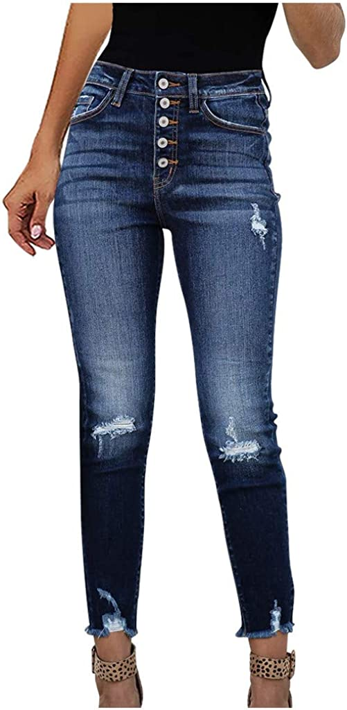 Jeans for Women,Women's Vintage High Waisted Skinny Hole Denim Button Stretchy Slim Pants Calf Length Jeans