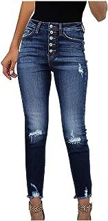 AOGOTO - Jeans da donna a vita media, elasticizzati, a vita media, in denim