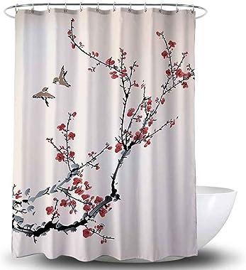 Adwaita Heavy Duty Waterproof Fabric Bathroom Shower Curtain Bath Curtain Weighted 100% Polyester, Machine Washable - 72 x 72