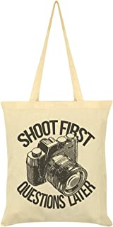 Shoot First Questions Later Photography Tote Bag Cream 38x42cm