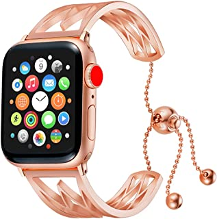 Compatible with Apple Watch Bands 38mm 40mm 42mm 44mm, Apple IWatch Classic Cuff Bracelet Stainless Steel Replacement Wristband Strap for Apple Series 4/3/2/1 Libra Gemini (Rose Gold, 42mm/44mm)