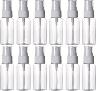 HOSL 1 Ounce Refillable Fine Mist Spray Bottle Perfume Sprayer Bottle Cosmetic Atomizers PET Spray Bottles Pump Pack of 12 (Clear)
