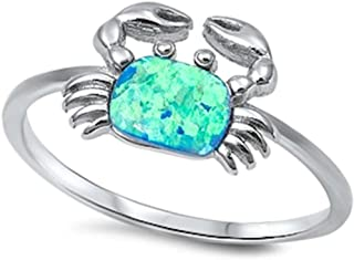 Blue Fire Opal Crab .925 Sterling Silver Ring Sizes 5-10