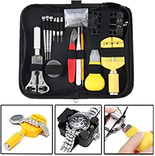 Watch Repair Kit Tools, Change Watch Battery Kit, Watch Band Tool,Watch Pins Professional Deluxe Punch Set,Watch Tools set Include Link Pin, Holder Opener, Carrying Case, Father's Day Gifts (black)