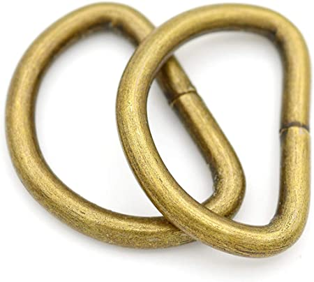 1 x 100 Pack, Antique Brass CRAFTMEmore D-Ring Findings Metal Non Welded D Rings for Belts Bags Landyard Leathercraft Available 4 Colors 3//4 /& 1 Inch