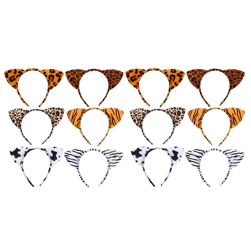 Lurrose 12pcs Plush Zoo Animal Ear Headbands Jungle Animal Ear Horn Hair Hoop Cosplay Hair Hoop for Halloween Festival Party