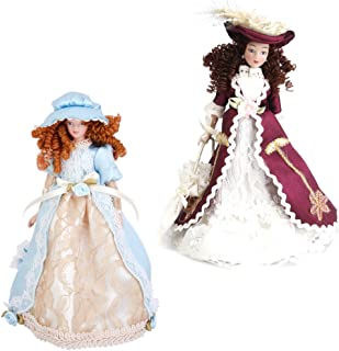 2pcs 1/12 Doll House Miniature Porcelain Doll Victorian Lady with Hat & Stand Home Decor