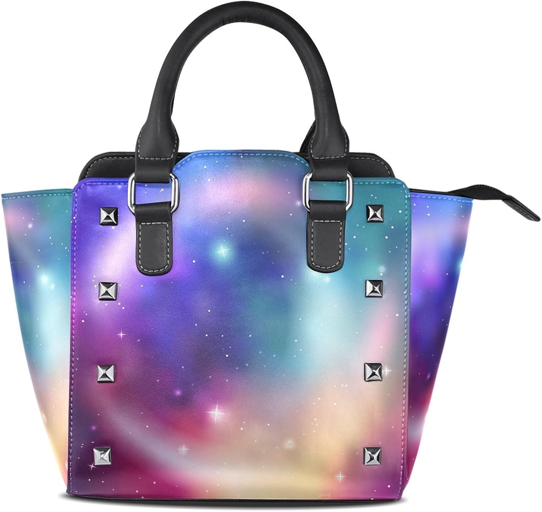 My Little Nest Women's Top Handle Satchel Handbag Abstract colorful Galaxy Print Ladies PU Leather Shoulder Bag Crossbody Bag