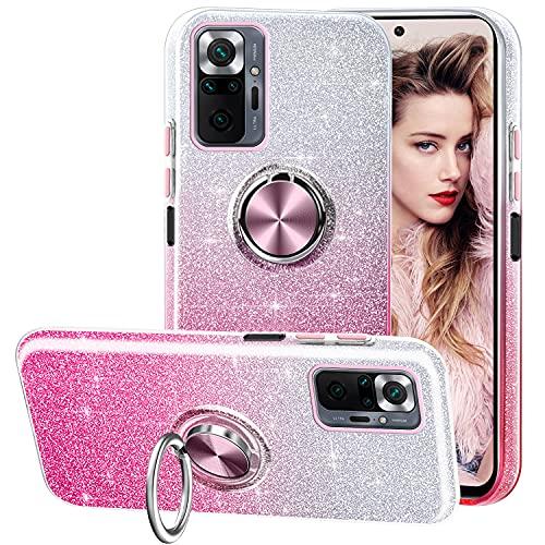 Funda para Xiaomi Redmi Note 10 Pro/Note 10 Pro MAX, Gradiente Glitter Brillante Carcasa y Soporte Magnético de Anillo Protección 3-in-1 de Cubierta PC Suave TPU Gel Anti-Choque Case - Rosa Gr