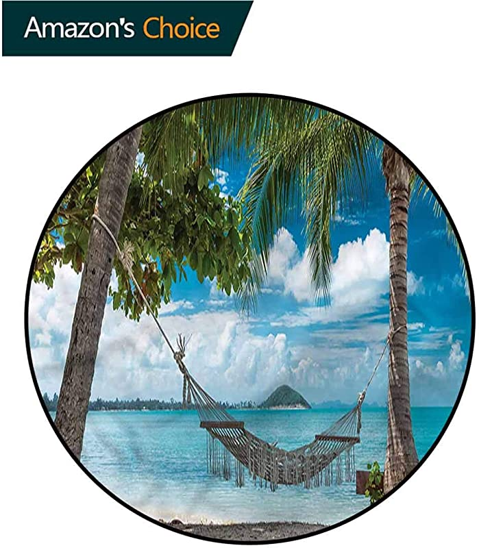 RUGSMAT Beach Washable Creative Modern Round Rug Palm Trees Hammock Holiday Non Slip No Shedding Bedroom Soft Floor Mat Diameter 24
