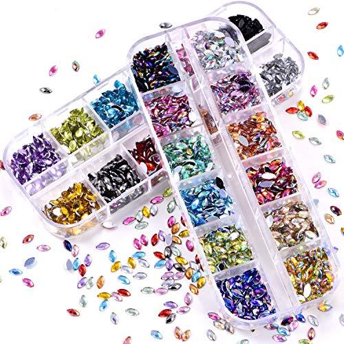BLINGINBOX Lot de 2 boîtes de 2 boîtes de 24 couleurs brillantes, strass œil de cheval, dos plat
