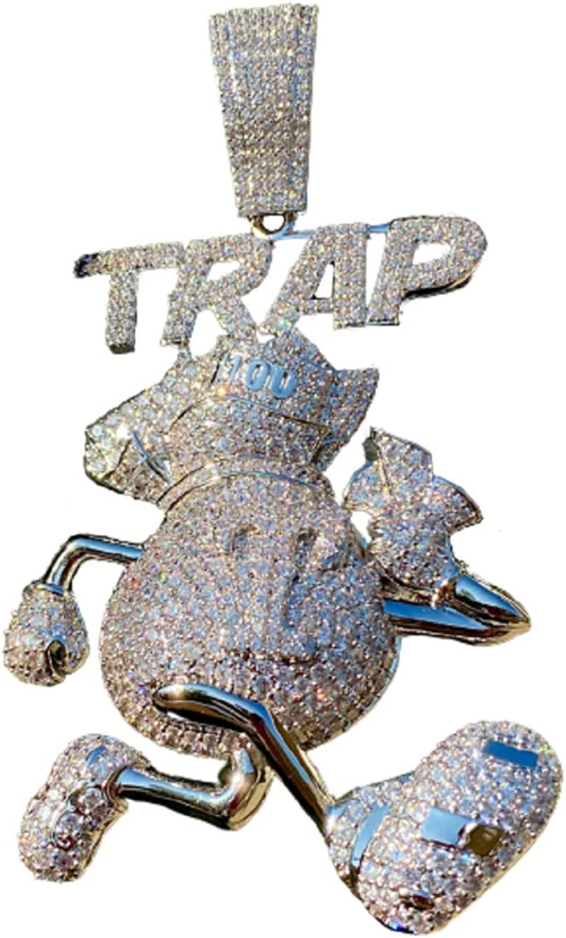 Mens 14k White Gold Finish Money Bag Trap House Guy Running Iced Prong Set for Cuban Chain Men, Miami Fits to Cuban Link Chain Choker Necklace (Trap Pendant Only) Fits upto 18mm Chains