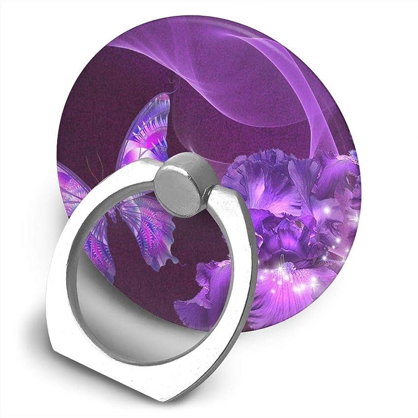 理論的データベース黙認する紫蝶 360度回転 携帯リング スタンド スマホスタンド ホルダー 薄型 指輪 リング 携帯アクセサリースタンド機能 落下防止