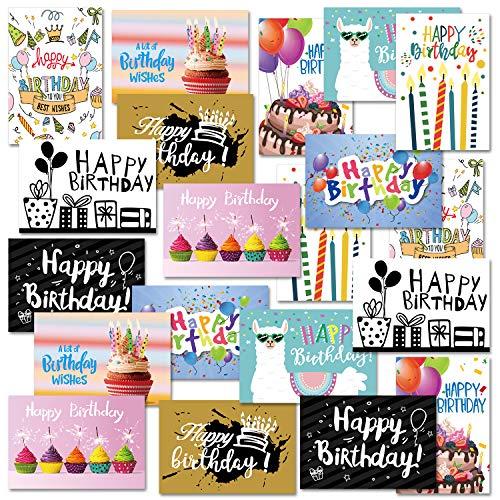 CHRORINE Biglietti di Auguri di Buon Compleanno Include 20 Biglietti di Auguri Con 20 Buste, 10...