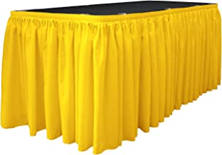 LA Linen LA Linen Polyester Poplin Table Skirt 21-Foot by 29-Inch Long with 15 L-Clips, Light Yellow