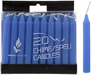 Mega Candles 20 pcs Unscented Light Blue Mini Taper Candle, 4 Inch Tall x 1/2 Inch Diameter, Great for Casting Chimes, Rituals, Spells, Vigil, Witchcraft, Wiccan Supplies, Wax Play & More