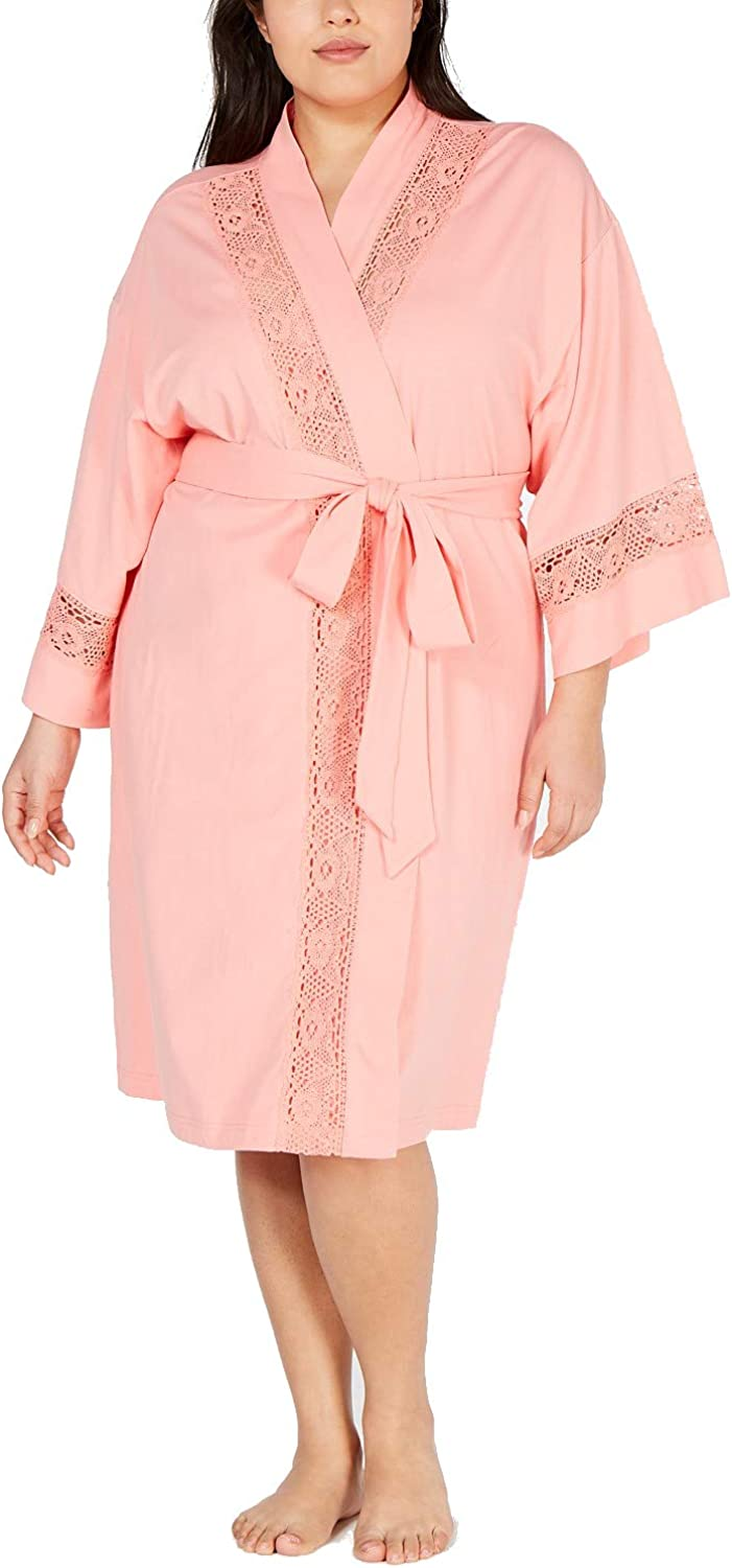 Charter Club Embroidered Lace Soft Cotton Knit Robe