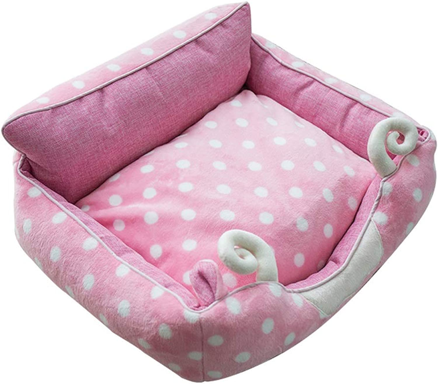 Dog Bed, Soft Warm Plush Kennel Small Dog Fully Removable and Washable Winter Warm Cat Litter Four Seasons Universal Dog Bed (color   Pink, Size   S)
