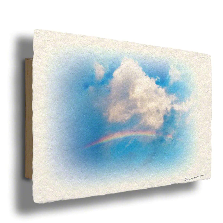 無条件断言する迫害する手すき 和紙 アート パネル 木製パネル付 青 空 「虹と入道雲」100x68cm 絵 絵画 ポスター ウォールアート ウォールデコ