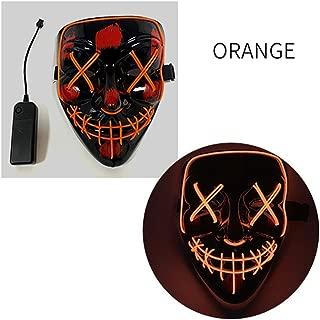 Halloween LED Mask V Word with Blood Black Ghost Face Props Fluorescent V Word Horror Mask happyL (Color : Orange)