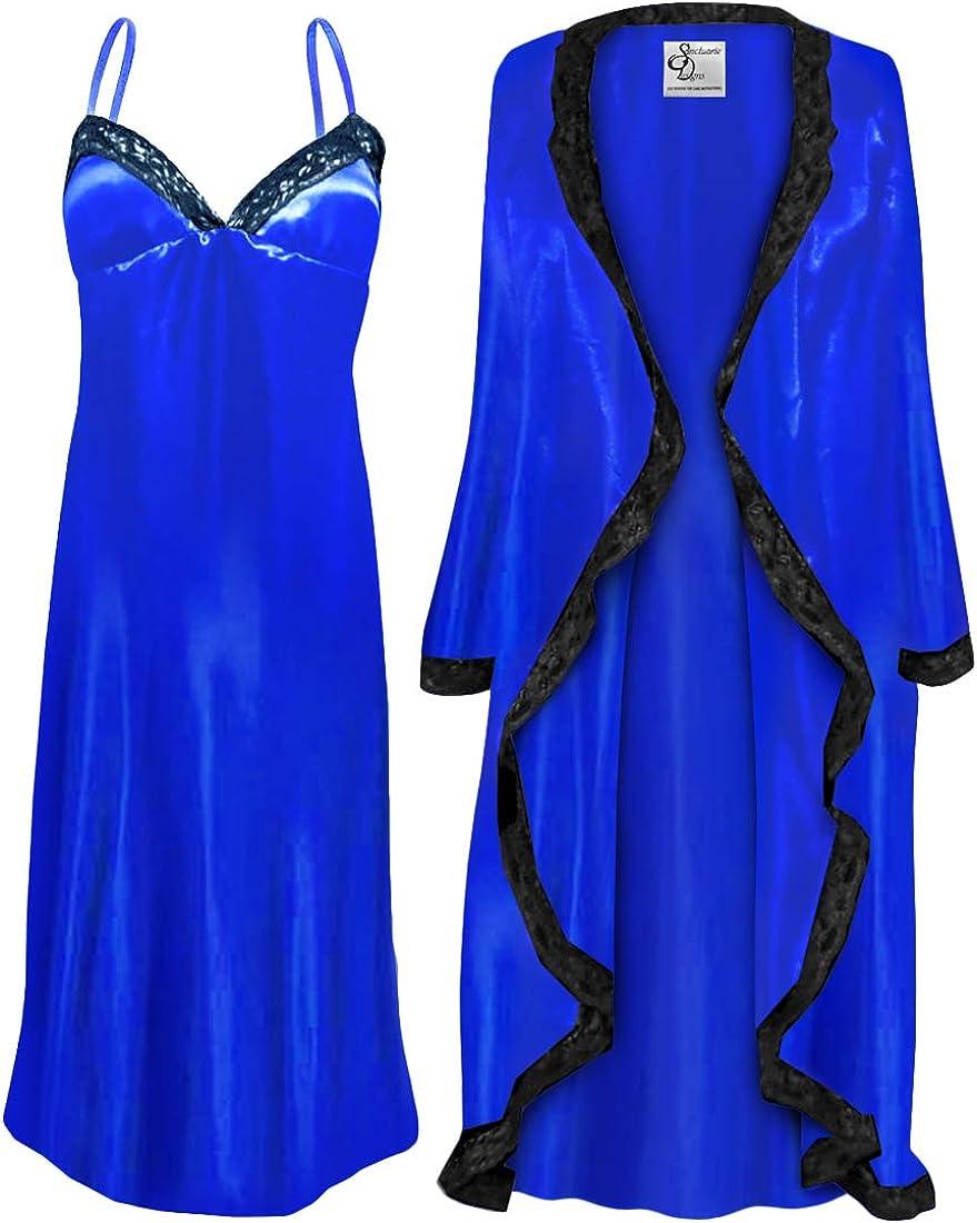 Plus Size Royal Blue Satin Robe & Nightgown Set w/Black Lace Trim