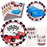 WERNNSAI Racing Car Party Supplies for Boys - Serves 16 Guests Disposable Party Tableware Kit Includes Paper...