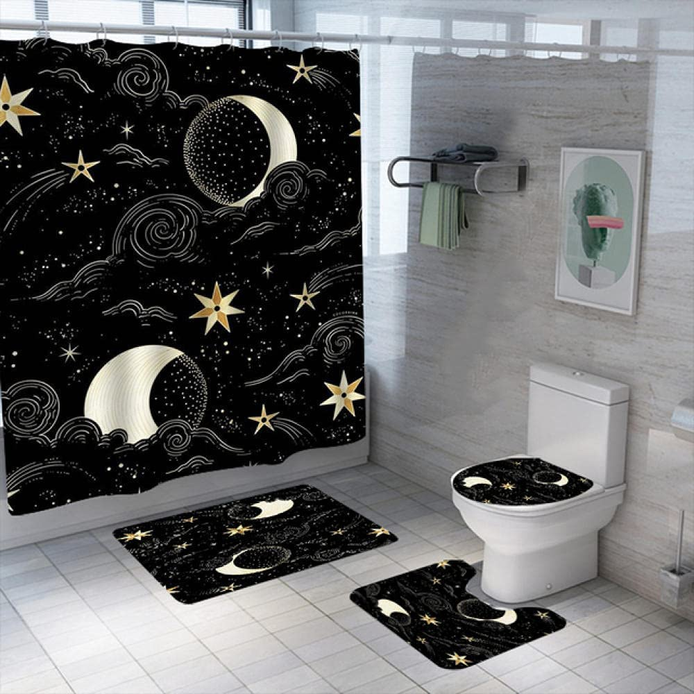 Moon and Sun Shower Curtain Waterproof Manufacturer OFFicial shop Ranking TOP9 Curtai Bath Polyester Set