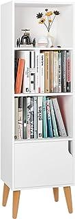 Estantería Librería Estantería para Libros Estantería de Pared Madera Estantería Salón con 4 Cubos 1 Puerta Blanco 40x30x1...
