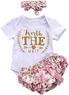 Counjunto de Ropa bebé niña Verano Recién Nacido bebé niñas Carta Floral Monos Verano Mameluco Tops y Pantalones Cortos Ropa Conjunto