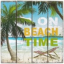 秋月貿易 アートフレーム/海 On Beach W40×D2×H40cm Wood Board ウッド ボード WB16007