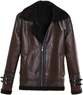 neveraway Mens Biker Motorcycle Plus Size Zipper Fleece Casual PU Leather Jackets