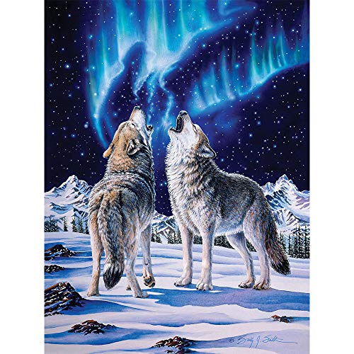 Bits and Pieces - 500 Piece Jigsaw Puzzle for Adults 18' x 24' - Lifemates - 500 pc Howling Wolves Winter Northern Lights Jigsaw by Artist Sally J. Smith