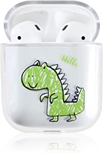 Ownest Compatible with AirPods Case with Girls Boys Cute Clear Smooth PC Shockproof No Dust Cover Case for Airpods 2 &1,Cute for Airpods-(Dinosaur)