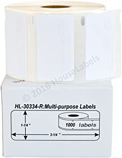 """12 Rolls; 1,000 Labels per Roll of Compatible with DYMO 30334-R Removable Multipurpose Labels (2-1/4"""" x 1-1/4"""") - BPA Free!"""