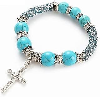 CTRCHUJIAN Fashion Women Design Natural Stone Bracelets 8Mm Beads Boho Vintage Cross Rhinestones Turquoises Bracelet Jewelry