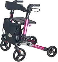 Junior Rollator Walker with Seat, Drive Medical Rolling Walker Foldable, 4 Wheels Mobility Walking Aids Double Brake Syste...