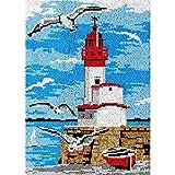 Lighthouse Scenery Latch Hook Rug Kits Sets para adultos niño ganchillo pared costura pestillo gancho kit inacabado, alfombra de ganchillo de gran tamaño para decoración del hogar 115 x 80 cm