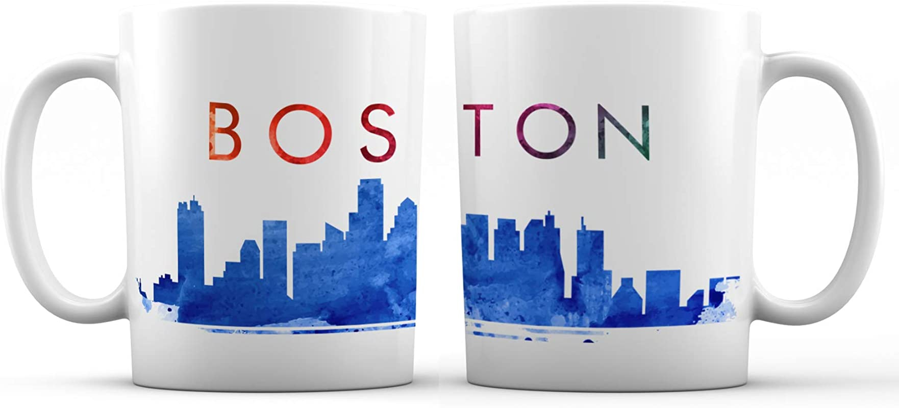 Boston Iconic City View Ceramic Coffee Mug 11 Oz Awesome New Design Colorful Decorative Souvenir Gift Cup For Friends Family Tourists Men And Women Blue