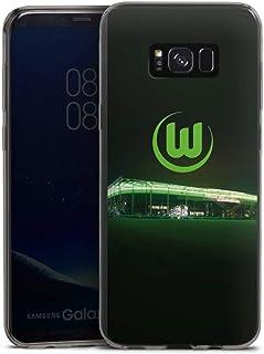 DeinDesign Slim Case extra dünn kompatibel mit Samsung Galaxy S8 Plus Silikon Handyhülle anthrazit Hülle Offizielles Lizenzprodukt VFL Wolfsburg Stadion
