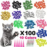 YMCCOOL 100pcs Cat Nail Caps/Tips Pet Cat Kitty Soft Claws Covers Control Paws of 10 Nails...