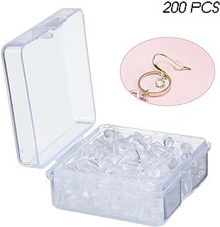 KOBWA - Tuercas para pendientes, 200 unidades, de goma transparente, con cierre de tuerca, con almohadilla para pendientes y cierres de seguridad
